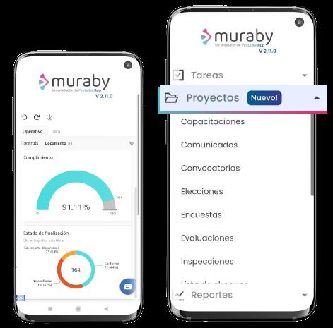Vista desde dispositivos móviles de los módulos de muraby para SST y PRL